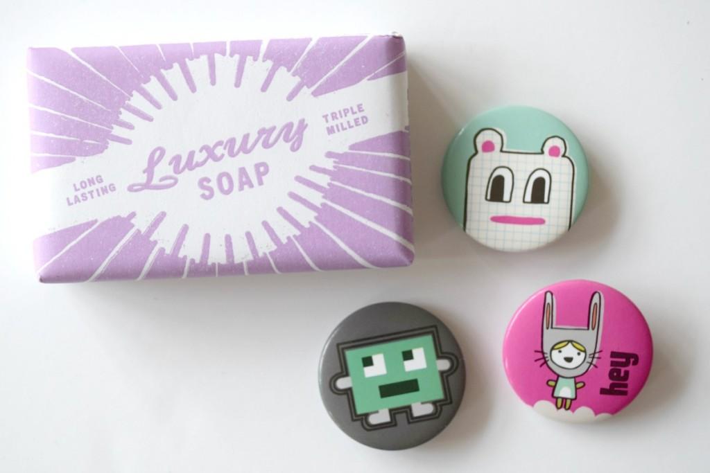 Soap and badges http://rainbeaubelle.com