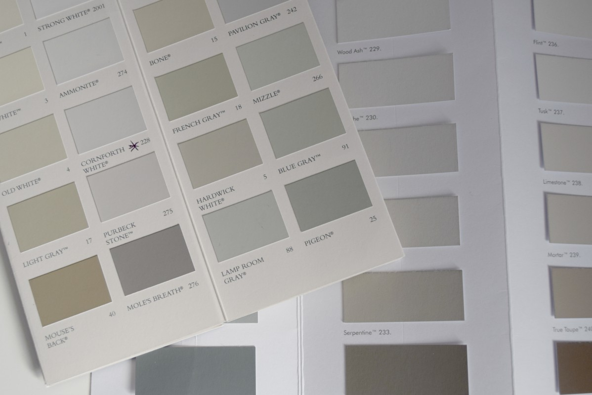 Grey paint testing cards