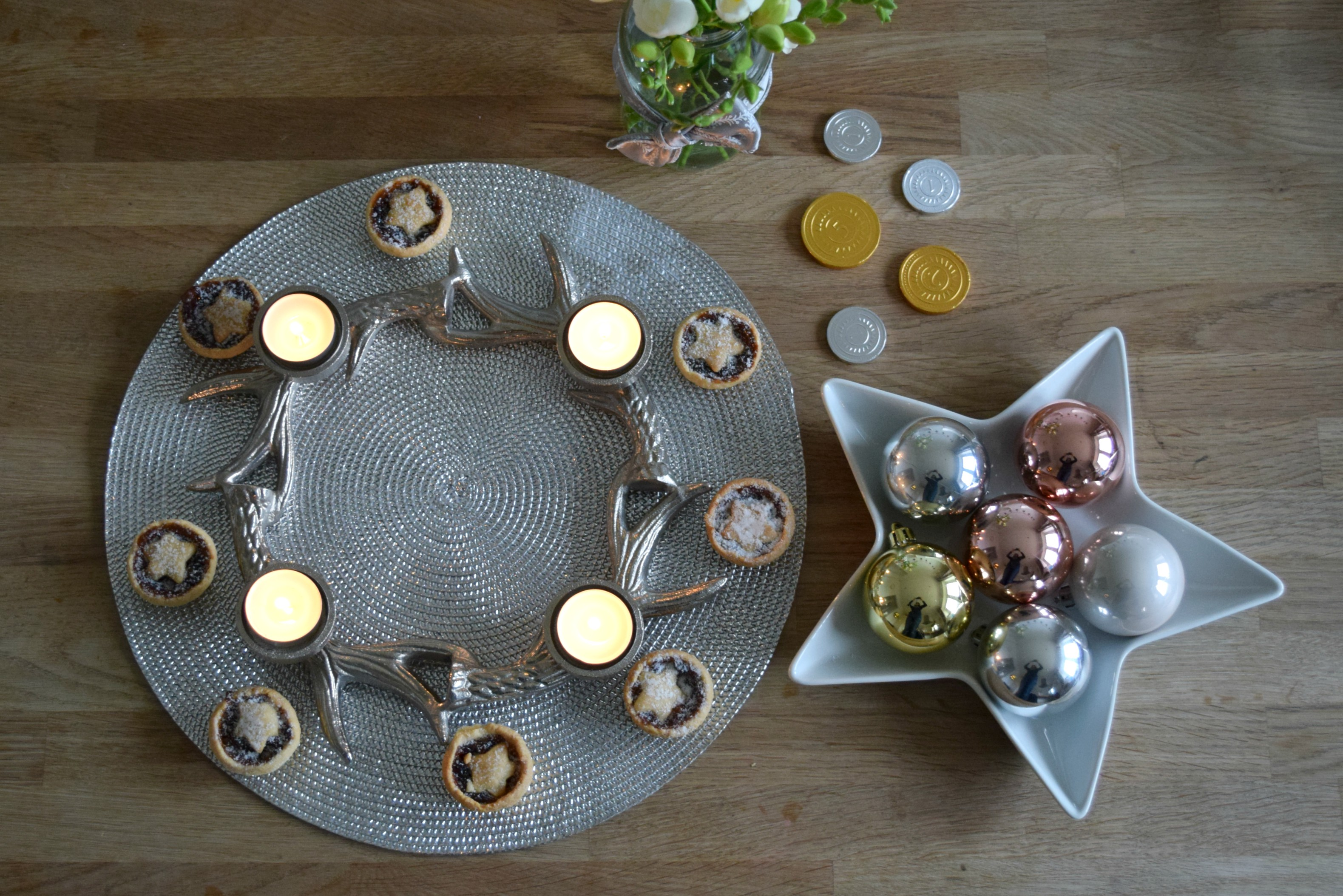 Antler candles, mince pies and baubles