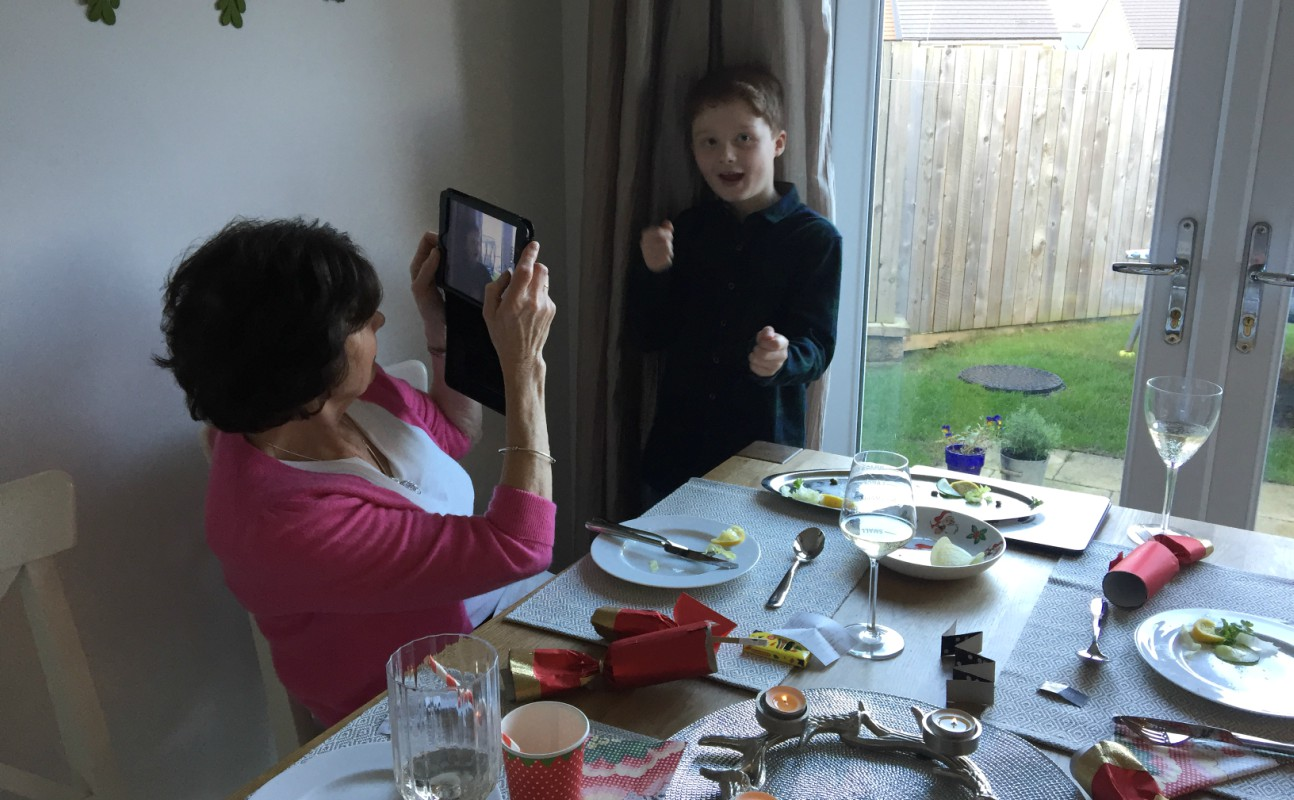 Mum taking a photo of Sam