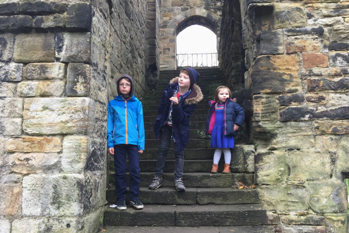Kids at Kirkstall Abbey
