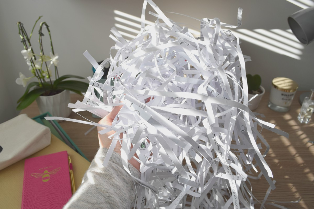 Shredded paper in my hand