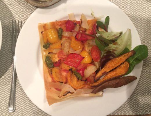 Filo pastry roast veg tart
