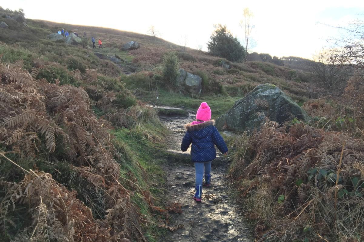 Flo walking up the moors