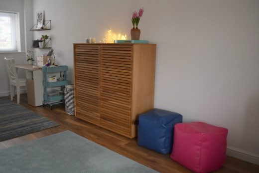A converted playroom, desk and cupboard side - Rainbeaubelle