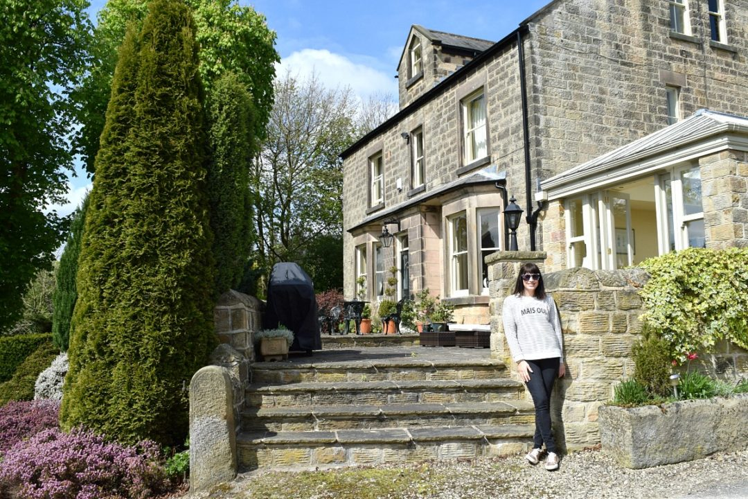 Jules outside the house in Derbyshire