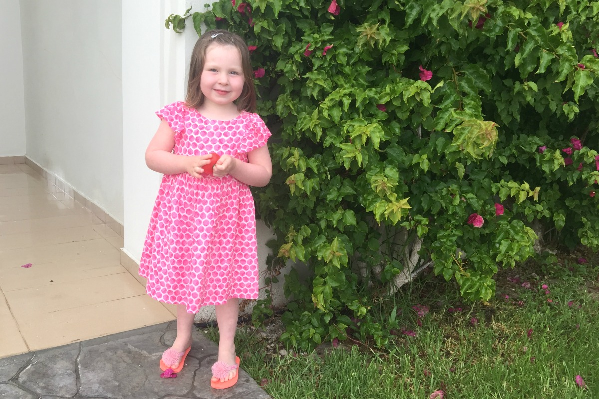 Flo in pink Joules dress