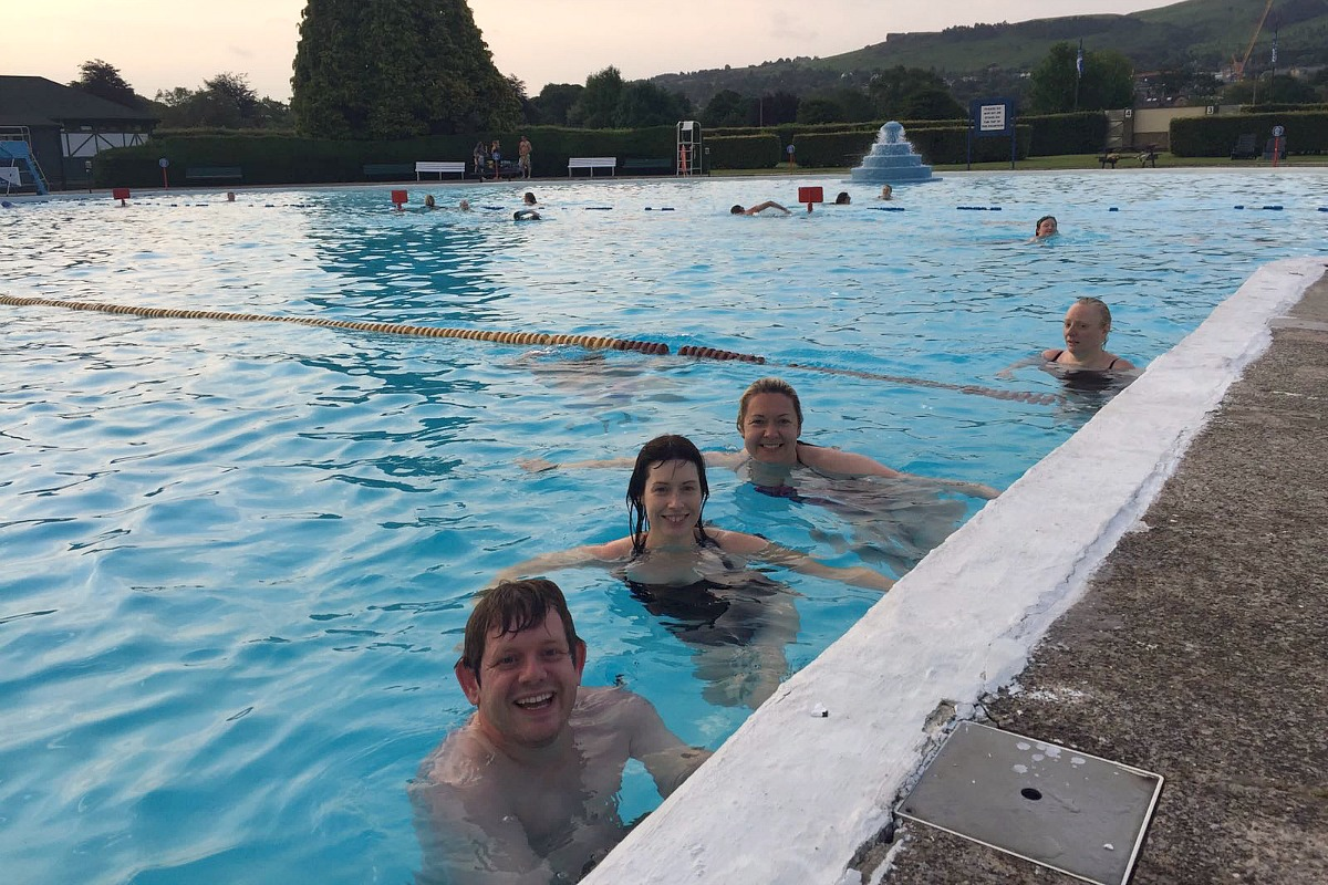 Adam, Jules and Rach in the lido