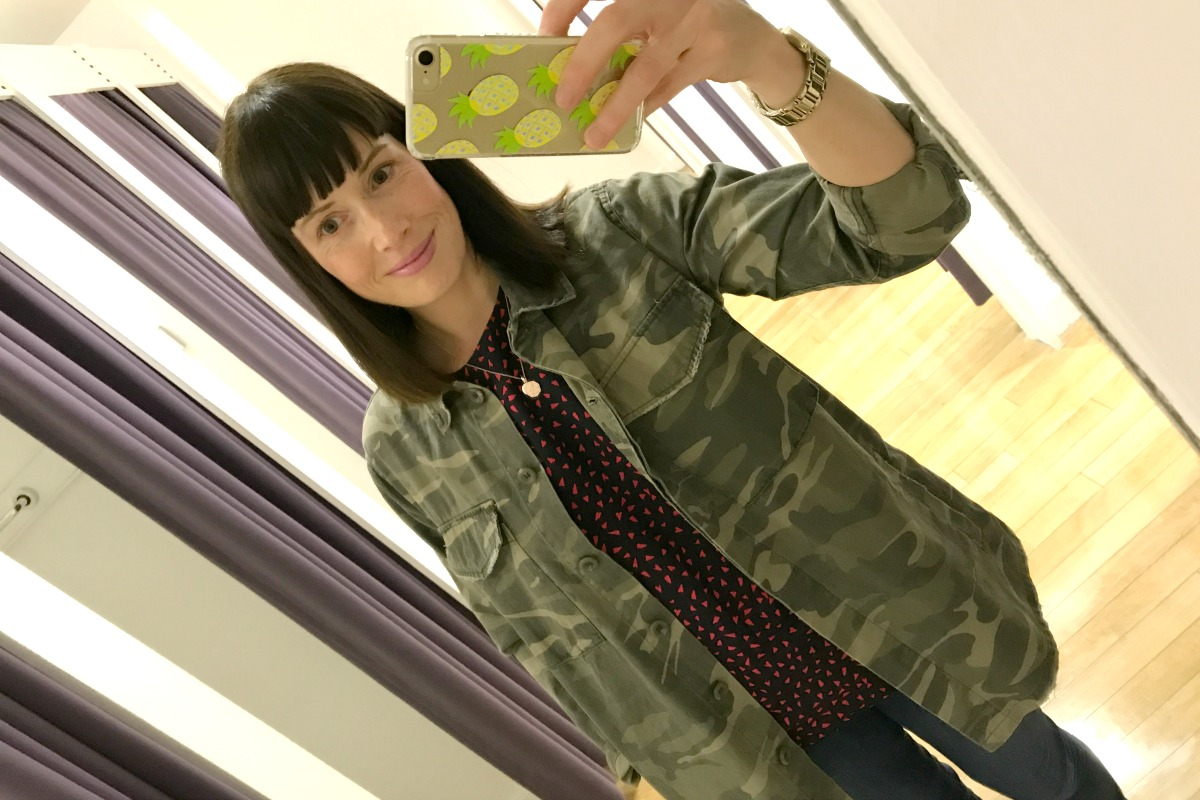 Topshop Camo jacket for Monks Cross Style Challenge