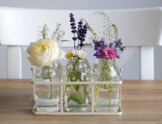 Flowers in milk bottles Rainbeaubelle.com
