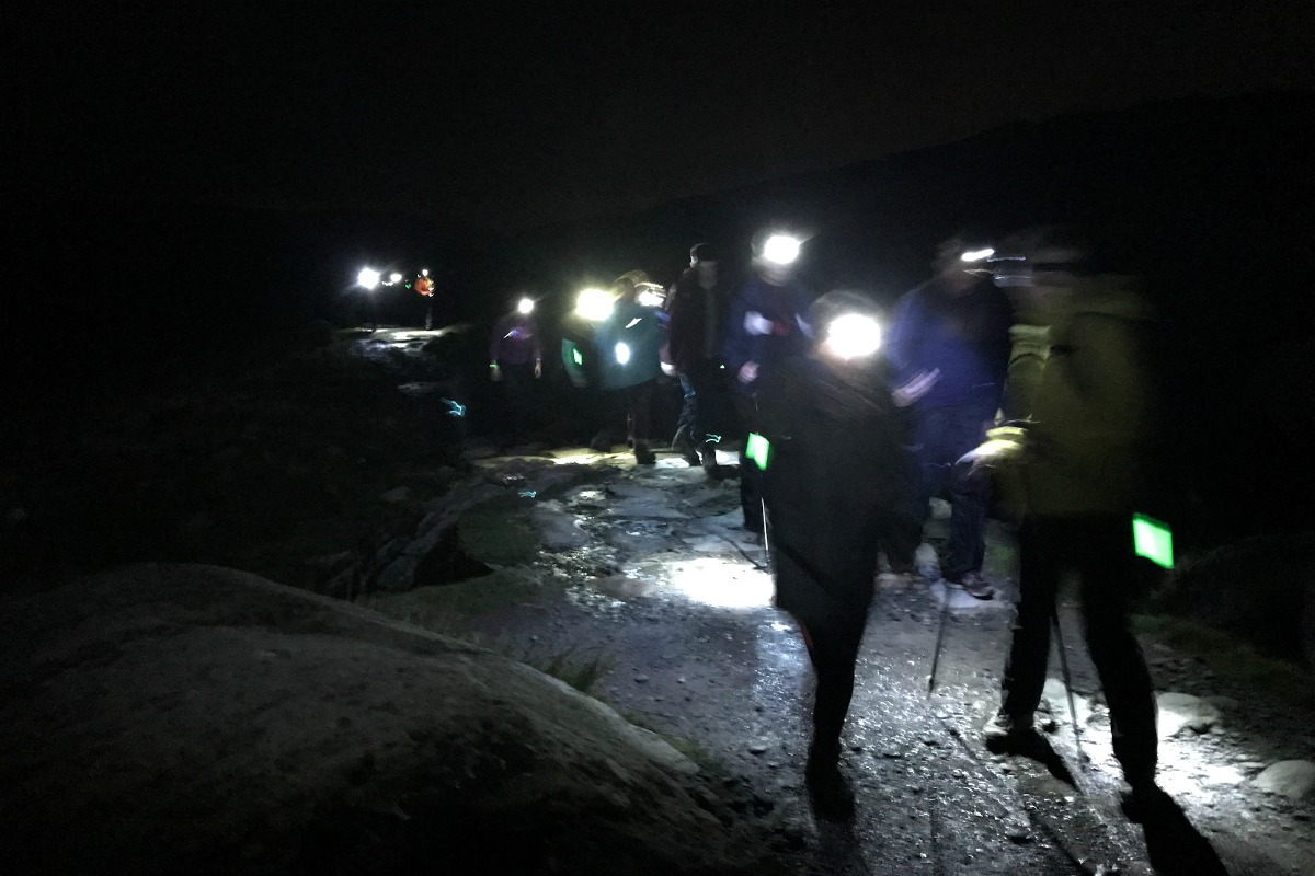 Group walking with head torches