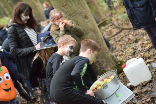 Apple bobbing in the woods